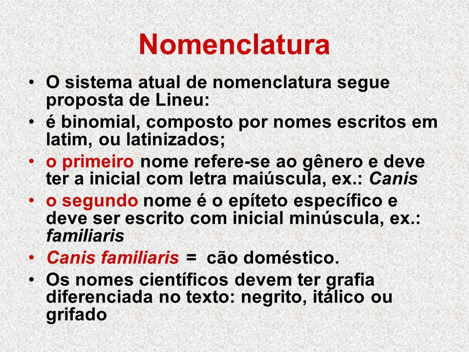 Nomenclatura O sistema atual de nomenclatura segue proposta de Lineu: é binomial, composto por nomes escritos em latim, ou latinizados; o primeiro nom
