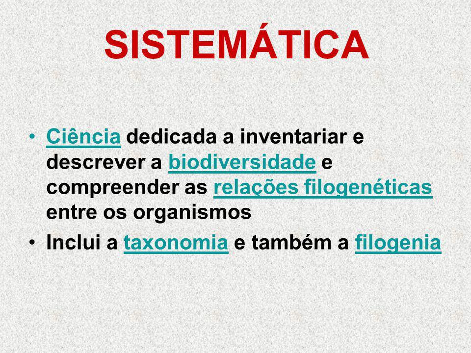 SISTEMÁTICA Ciência dedicada a inventariar e descrever a biodiversidade e compreender as relações filogenéticas entre os organismosiênciabiodiversidaderelações filogenéticas Inclui a taxonomia e também a filogeniataxonomiafilogenia
