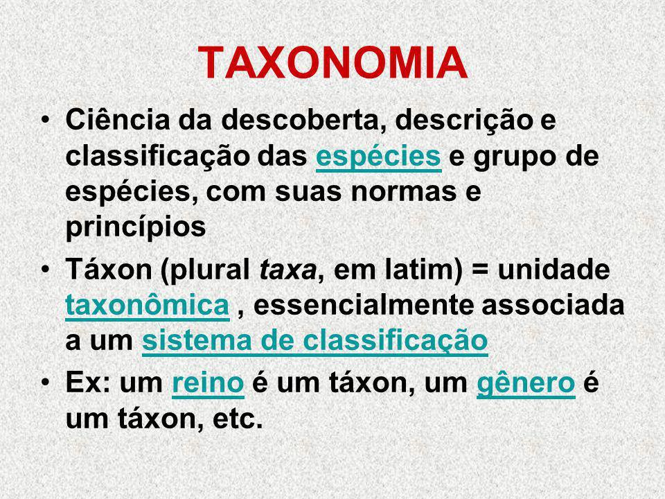 TAXONOMIA Ciência da descoberta, descrição e classificação das espécies e grupo de espécies, com suas normas e princípiosespécies Táxon (plural taxa,