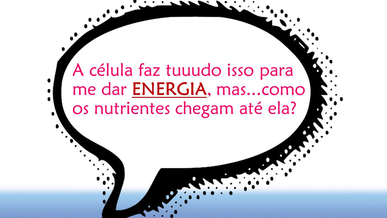 A célula faz tuuudo isso para me dar ENERGIA, mas...como os nutrientes chegam até ela?