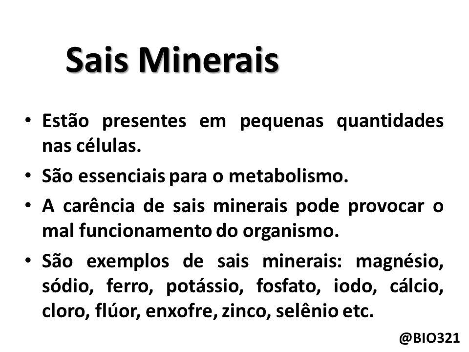 Sais Minerais Estão presentes em pequenas quantidades nas células.