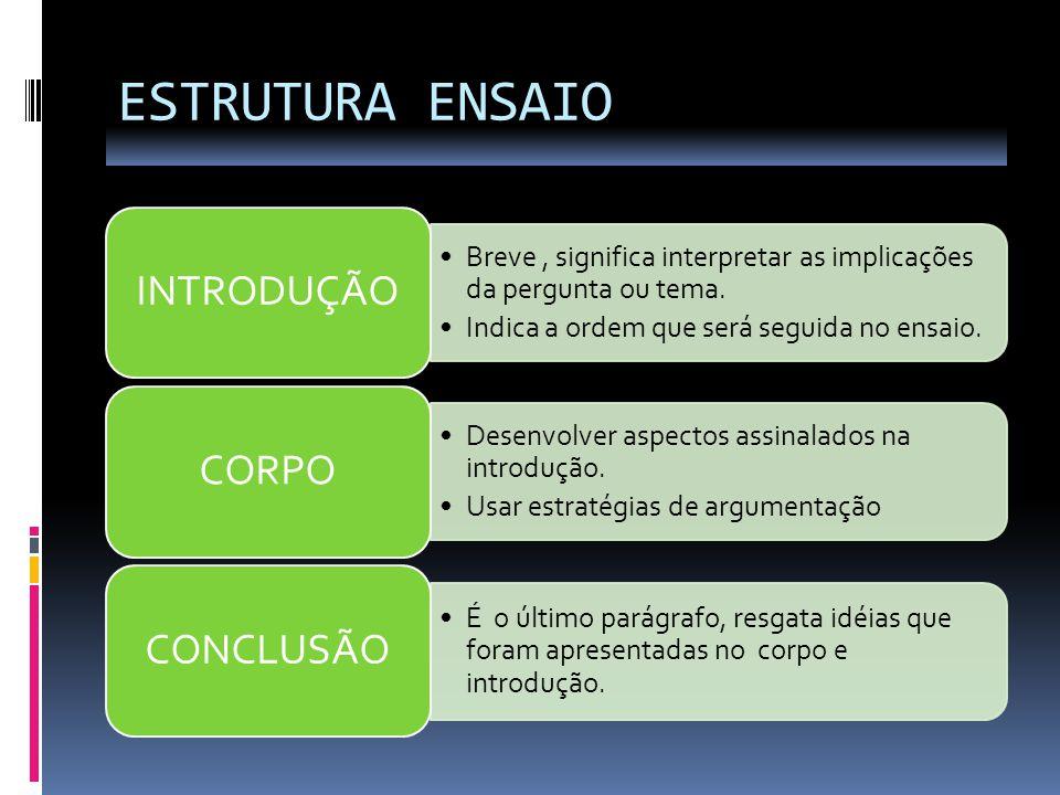 ESTRUTURA ENSAIO Breve, significa interpretar as implicações da pergunta ou tema. Indica a ordem que será seguida no ensaio. INTRODUÇÃO Desenvolver as