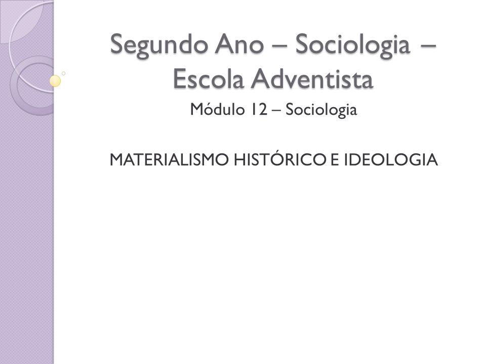 Segundo Ano – Sociologia – Escola Adventista Módulo 12 – Sociologia MATERIALISMO HISTÓRICO E IDEOLOGIA