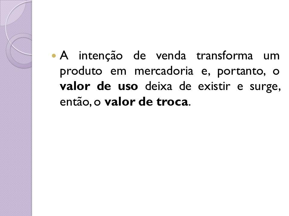 A intenção de venda transforma um produto em mercadoria e, portanto, o valor de uso deixa de existir e surge, então, o valor de troca.