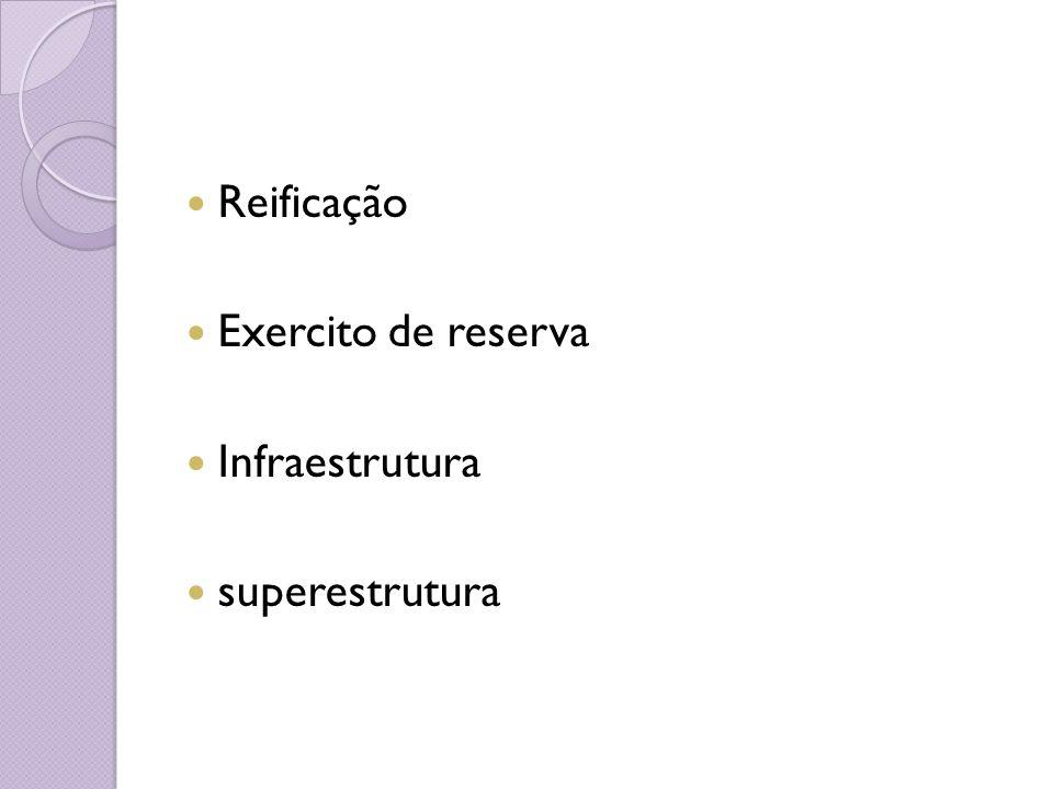 Reificação Exercito de reserva Infraestrutura superestrutura