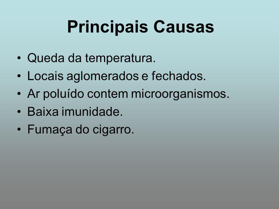 Principais Causas Queda da temperatura. Locais aglomerados e fechados. Ar poluído contem microorganismos. Baixa imunidade. Fumaça do cigarro.