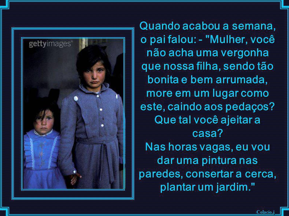 Colacio.j Quando a mãe viu a filha naquele lindo vestido azul, sentiu que era lamentável que sua filha, vestindo aquele traje novo, fosse tão suja par