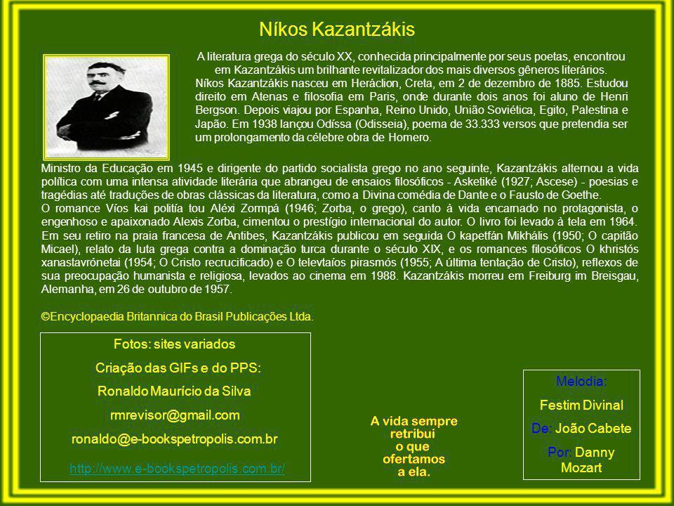A literatura grega do século XX, conhecida principalmente por seus poetas, encontrou em Kazantzákis um brilhante revitalizador dos mais diversos gêneros literários.