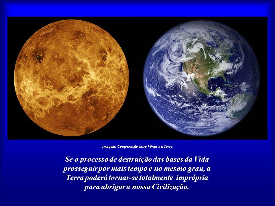 Imagem: Comparação entre Vênus e a Terra Estaríamos, inconscientemente, em meio a um processo coletivo de autodestruição? Se isso pode acontecer com u