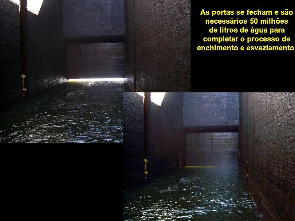 Entrada da embarcação na câmera onde será processada a Eclusagem.