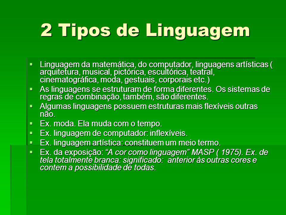 2 Tipos de Linguagem Linguagem da matemática, do computador, linguagens artísticas ( arquitetura, musical, pictórica, escultórica, teatral, cinematogr