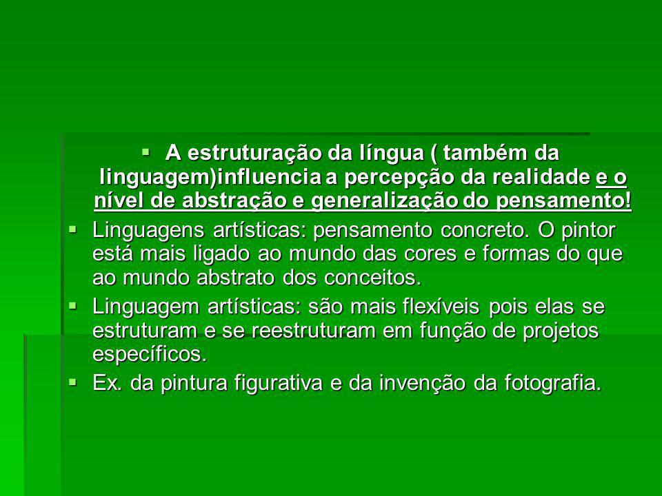 A estruturação da língua ( também da linguagem)influencia a percepção da realidade e o nível de abstração e generalização do pensamento! A estruturaçã
