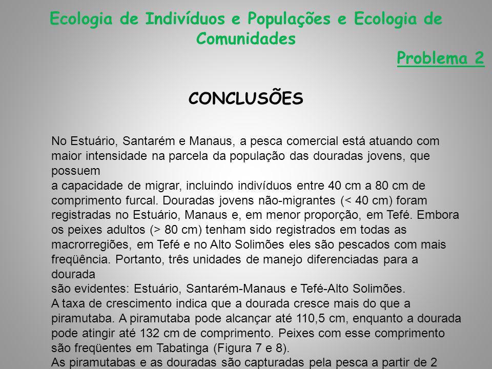 CONCLUSÕES Ecologia de Indivíduos e Populações e Ecologia de Comunidades Problema 2 No Estuário, Santarém e Manaus, a pesca comercial está atuando com maior intensidade na parcela da população das douradas jovens, que possuem a capacidade de migrar, incluindo indivíduos entre 40 cm a 80 cm de comprimento furcal.