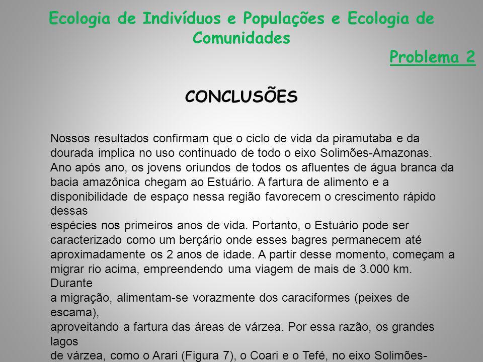 CONCLUSÕES Ecologia de Indivíduos e Populações e Ecologia de Comunidades Problema 2 Nossos resultados confirmam que o ciclo de vida da piramutaba e da dourada implica no uso continuado de todo o eixo Solimões-Amazonas.