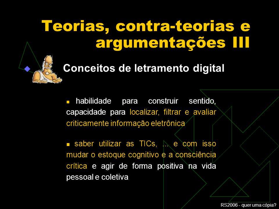 RS2006 - quer uma cópia? Tarapanoff, Suaiden e Oliveira o maior problema da inclusão digital não é a falta de computadores, mas o analfabetismo em inf