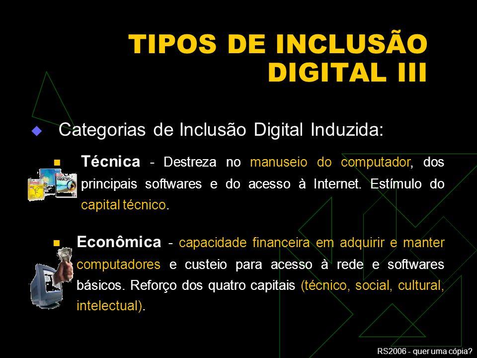 RS2006 - quer uma cópia? TIPOS DE INCLUSÃO DIGITAL II Inclusão digital Induzida Projetos induzidos de inclusão às tecnologias eletrônicas e às redes d