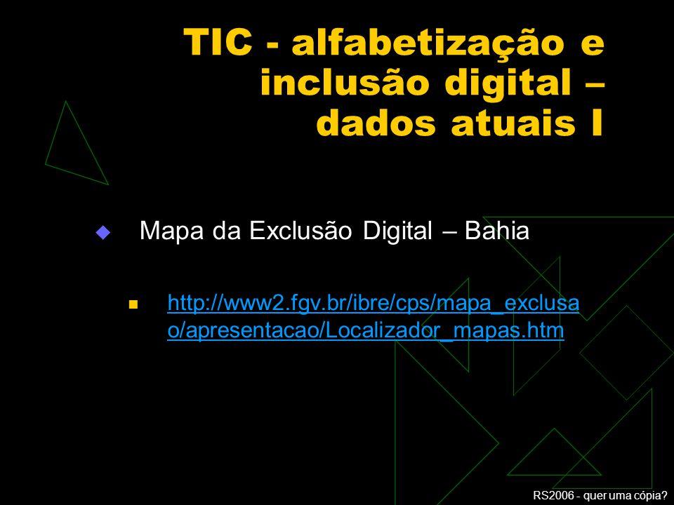 RS2006 - quer uma cópia? Alfabetização e inclusão digital III A formação dos educadores os educadores da área de TIC - técnicos os educadores da educa