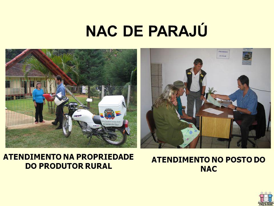 ATENDIMENTO NO POSTO DO NAC ATENDIMENTO NA PROPRIEDADE DO PRODUTOR RURAL NAC DE PARAJÚ