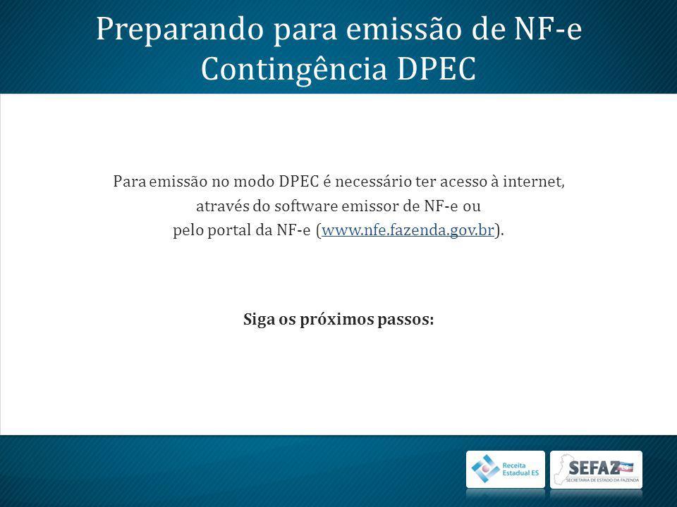Preparando para emissão de NF-e Contingência DPEC Para emissão no modo DPEC é necessário ter acesso à internet, através do software emissor de NF-e ou pelo portal da NF-e (www.nfe.fazenda.gov.br).www.nfe.fazenda.gov.br Siga os próximos passos: