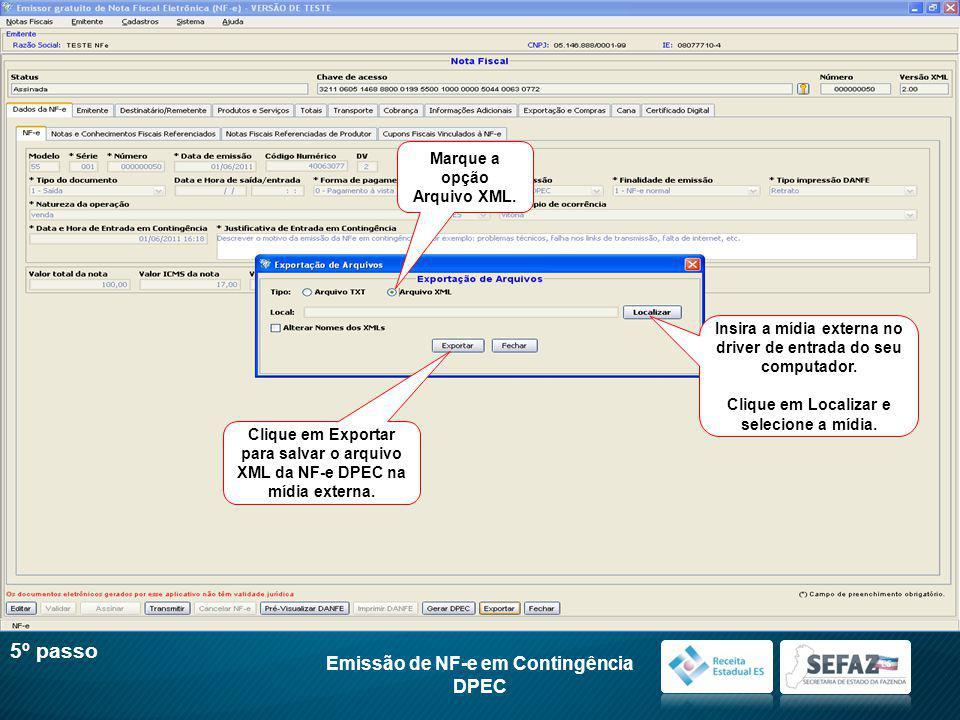 Marque a opção Arquivo XML.