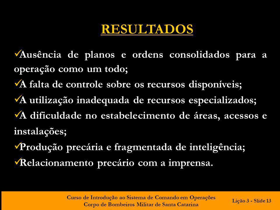Curso de Introdução ao Sistema de Comando em Operações Corpo de Bombeiros Militar de Santa Catarina Ausência de planos e ordens consolidados para a op