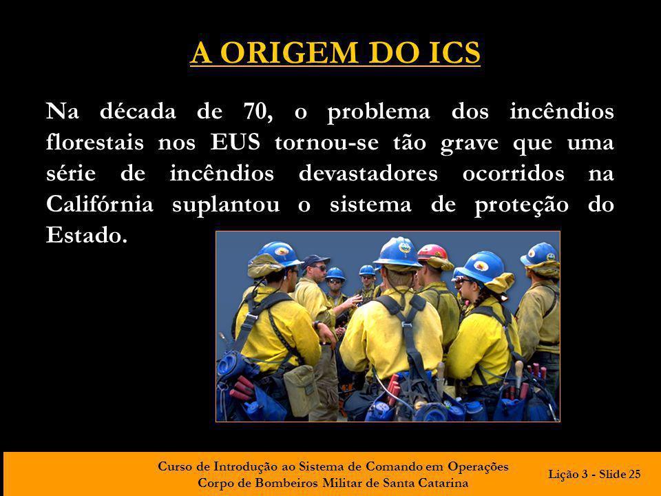 Curso de Introdução ao Sistema de Comando em Operações Corpo de Bombeiros Militar de Santa Catarina Na década de 70, o problema dos incêndios floresta