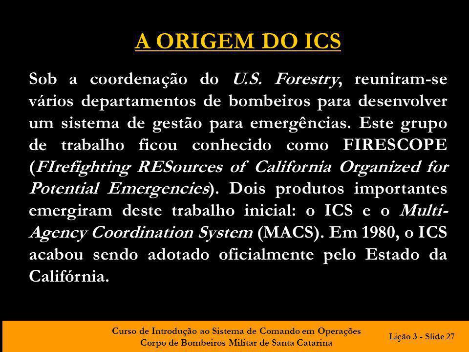 Curso de Introdução ao Sistema de Comando em Operações Corpo de Bombeiros Militar de Santa Catarina Sob a coordenação do U.S. Forestry, reuniram-se vá