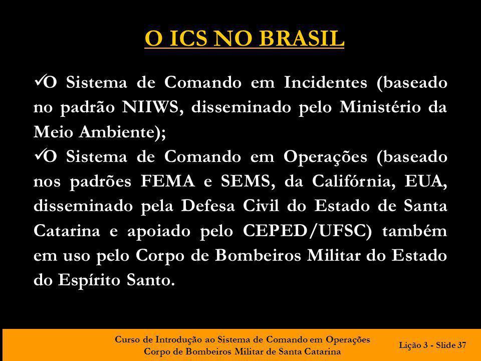 Curso de Introdução ao Sistema de Comando em Operações Corpo de Bombeiros Militar de Santa Catarina O Sistema de Comando em Incidentes (baseado no pad