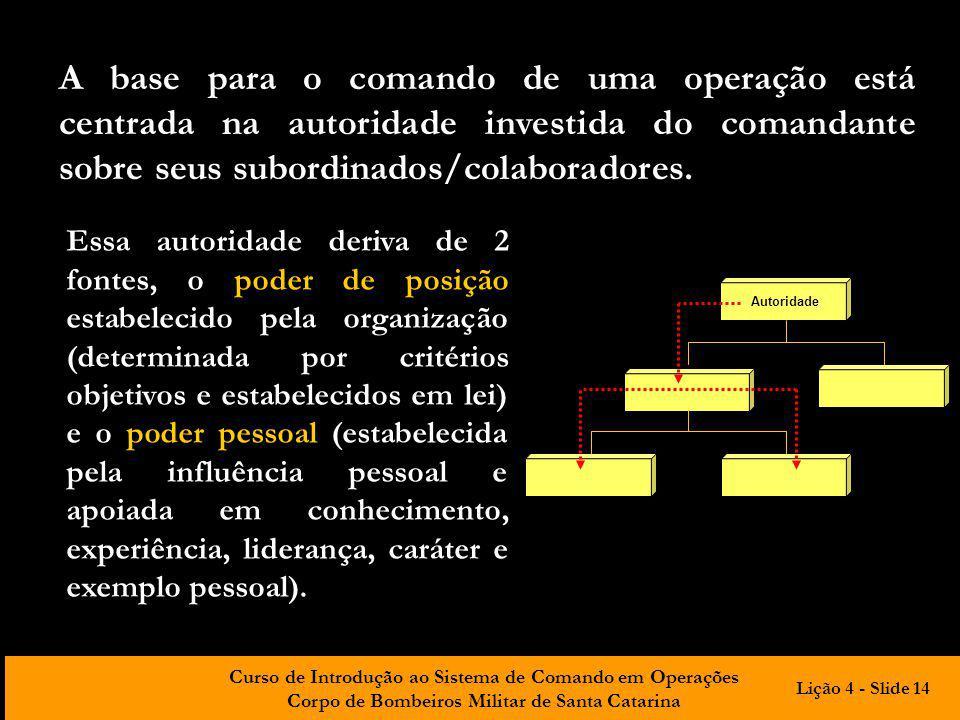 Curso de Introdução ao Sistema de Comando em Operações Corpo de Bombeiros Militar de Santa Catarina A base para o comando de uma operação está centrad