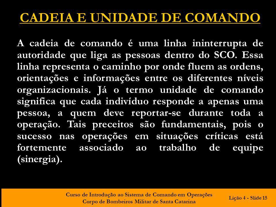 Curso de Introdução ao Sistema de Comando em Operações Corpo de Bombeiros Militar de Santa Catarina CADEIA E UNIDADE DE COMANDO A cadeia de comando é