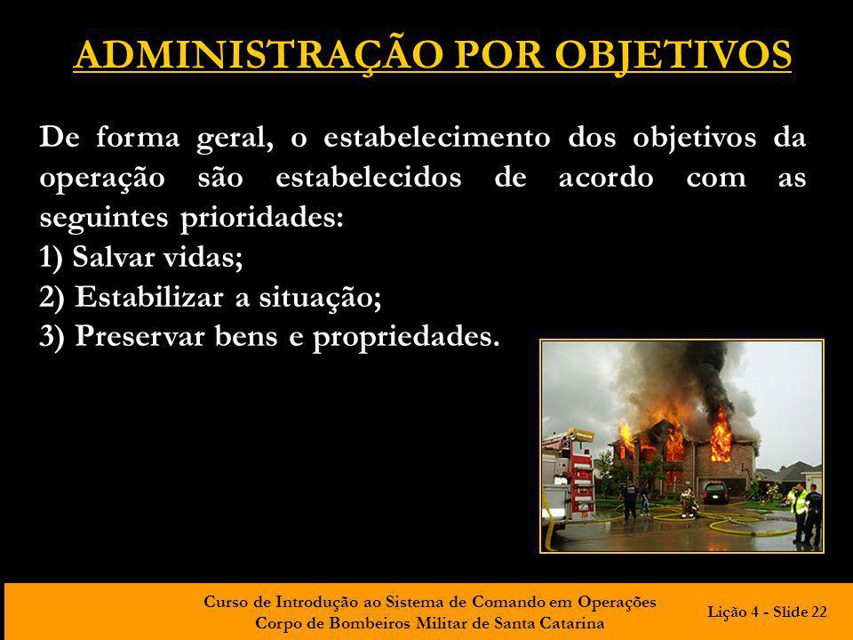 Curso de Introdução ao Sistema de Comando em Operações Corpo de Bombeiros Militar de Santa Catarina ADMINISTRAÇÃO POR OBJETIVOS De forma geral, o esta