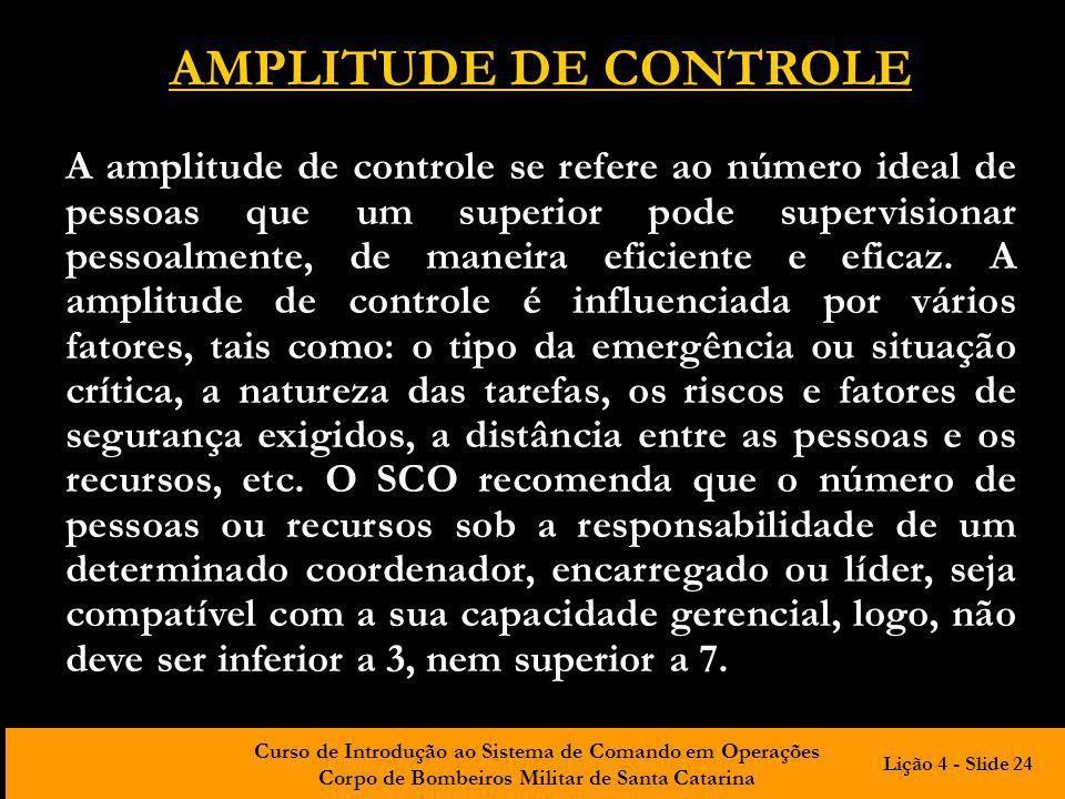 Curso de Introdução ao Sistema de Comando em Operações Corpo de Bombeiros Militar de Santa Catarina AMPLITUDE DE CONTROLE A amplitude de controle se r
