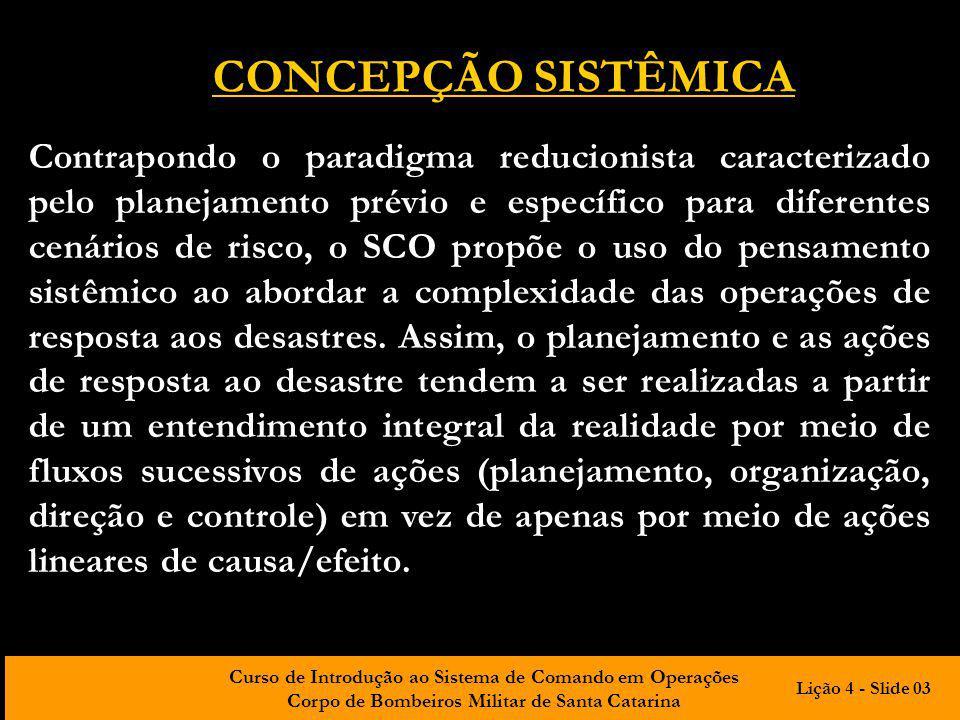 Curso de Introdução ao Sistema de Comando em Operações Corpo de Bombeiros Militar de Santa Catarina CONCEPÇÃO SISTÊMICA Contrapondo o paradigma reduci