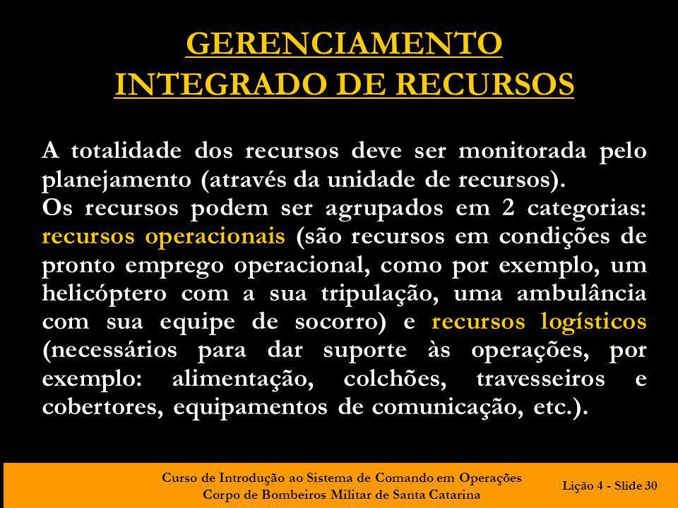 Curso de Introdução ao Sistema de Comando em Operações Corpo de Bombeiros Militar de Santa Catarina GERENCIAMENTO INTEGRADO DE RECURSOS A totalidade d
