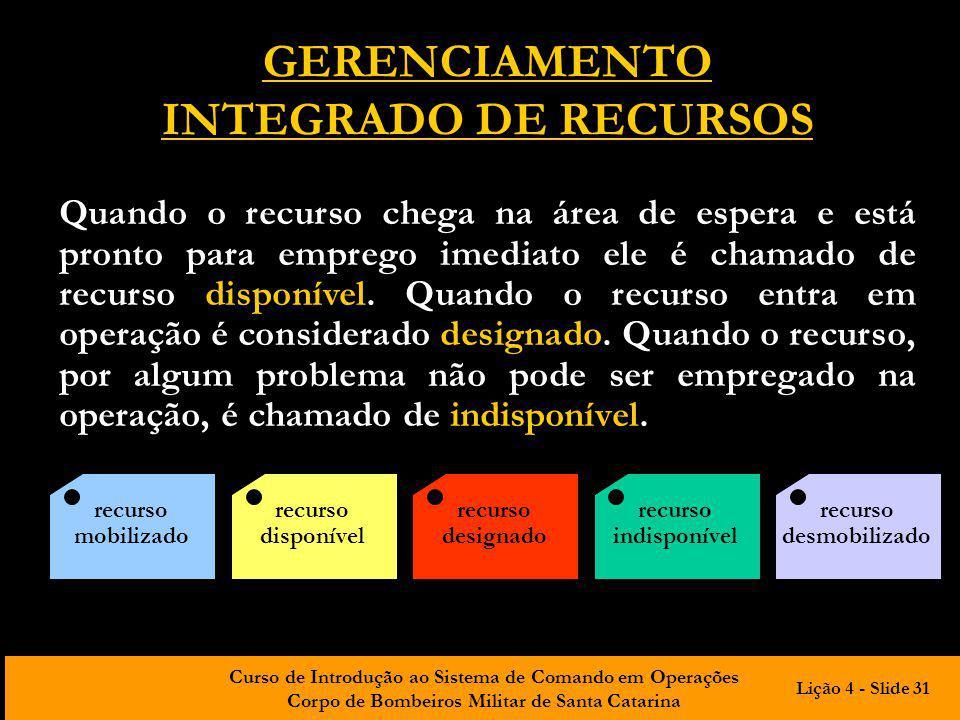 Curso de Introdução ao Sistema de Comando em Operações Corpo de Bombeiros Militar de Santa Catarina GERENCIAMENTO INTEGRADO DE RECURSOS Quando o recur