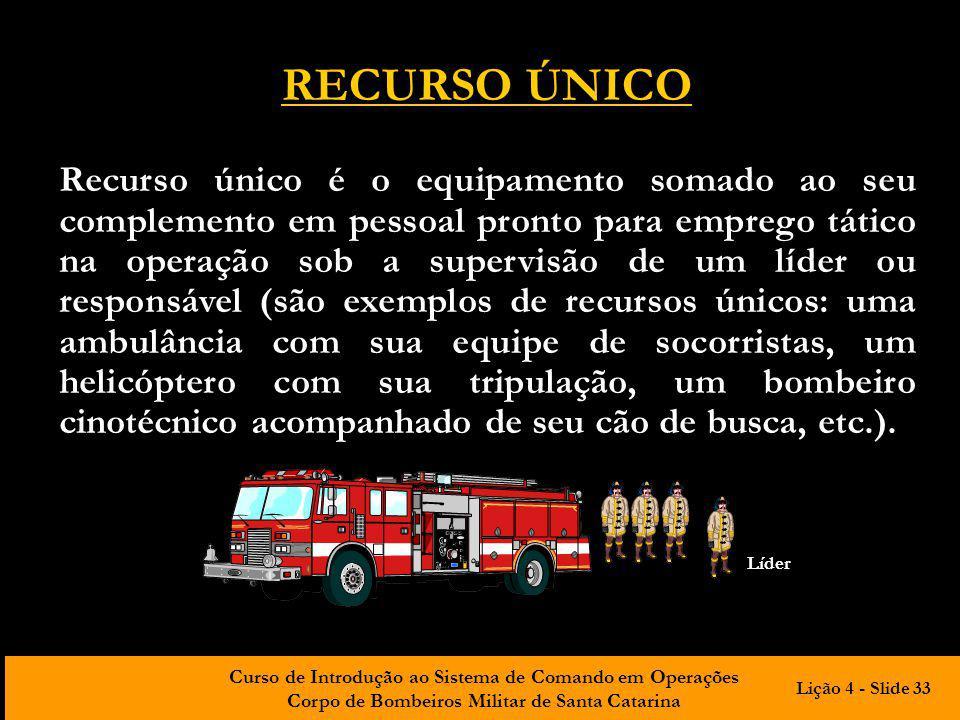 Curso de Introdução ao Sistema de Comando em Operações Corpo de Bombeiros Militar de Santa Catarina RECURSO ÚNICO Recurso único é o equipamento somado