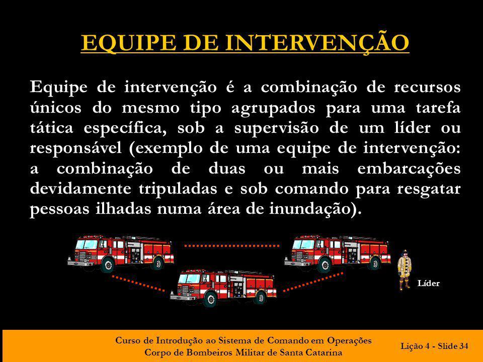 Curso de Introdução ao Sistema de Comando em Operações Corpo de Bombeiros Militar de Santa Catarina EQUIPE DE INTERVENÇÃO Equipe de intervenção é a co