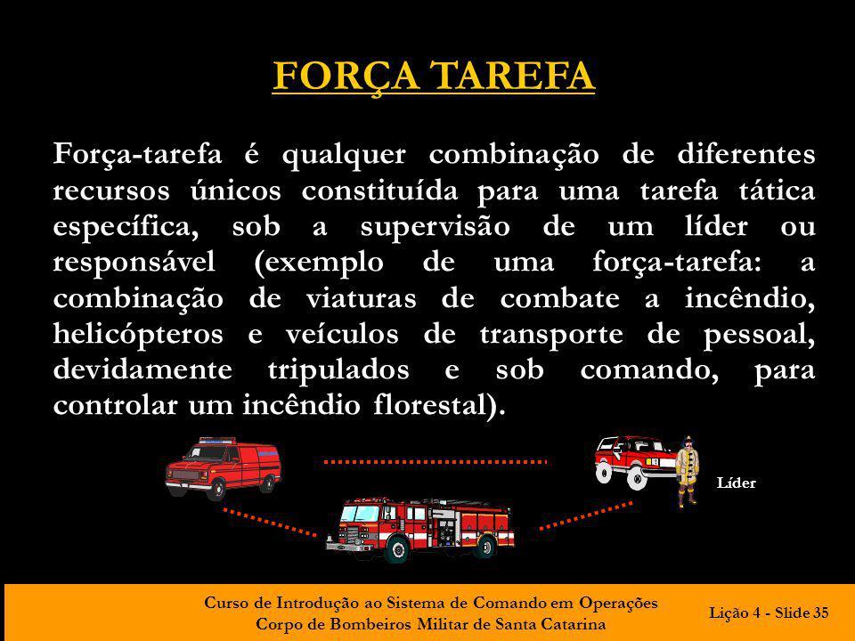 Curso de Introdução ao Sistema de Comando em Operações Corpo de Bombeiros Militar de Santa Catarina FORÇA TAREFA Força-tarefa é qualquer combinação de