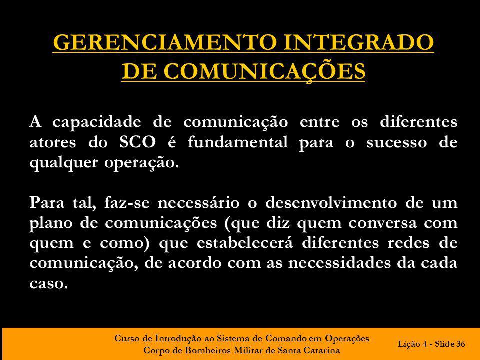 Curso de Introdução ao Sistema de Comando em Operações Corpo de Bombeiros Militar de Santa Catarina GERENCIAMENTO INTEGRADO DE COMUNICAÇÕES A capacida