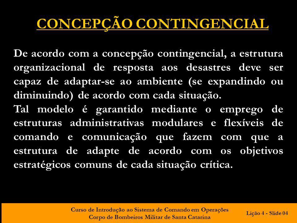 Curso de Introdução ao Sistema de Comando em Operações Corpo de Bombeiros Militar de Santa Catarina CONCEPÇÃO CONTINGENCIAL De acordo com a concepção
