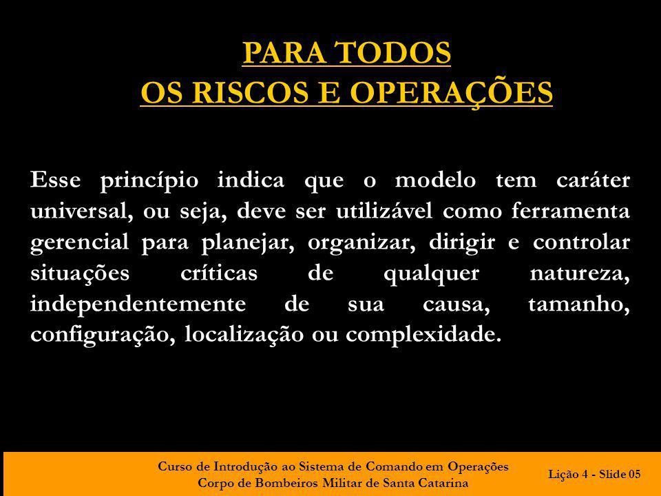 Curso de Introdução ao Sistema de Comando em Operações Corpo de Bombeiros Militar de Santa Catarina Concepção sistêmica Contingencial Para todos os riscos e operações Sistema de Comando em Operações A estrutura organizacional do SCO é apoiada em 3 princípios fundamentais e 15 características básicas Lição 4 - Slide 06