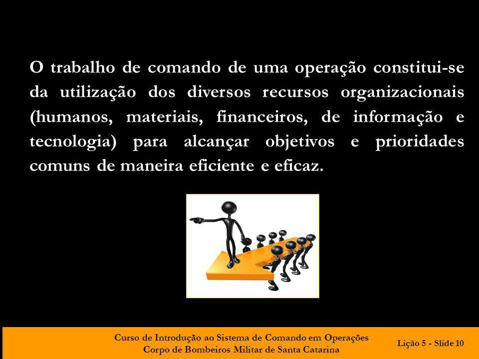 Curso de Introdução ao Sistema de Comando em Operações Corpo de Bombeiros Militar de Santa Catarina O trabalho de comando de uma operação constitui-se