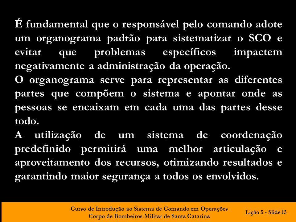 Curso de Introdução ao Sistema de Comando em Operações Corpo de Bombeiros Militar de Santa Catarina É fundamental que o responsável pelo comando adote