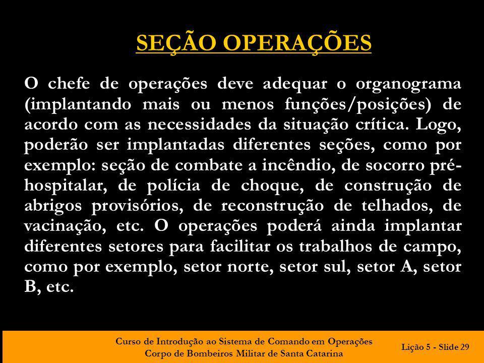 Curso de Introdução ao Sistema de Comando em Operações Corpo de Bombeiros Militar de Santa Catarina O chefe de operações deve adequar o organograma (i