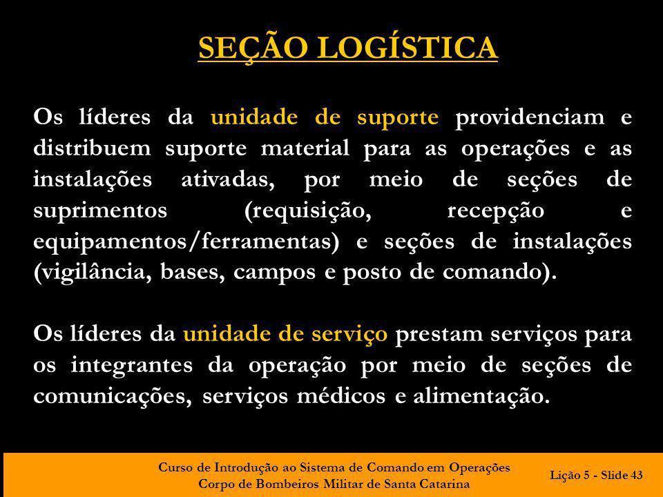 Curso de Introdução ao Sistema de Comando em Operações Corpo de Bombeiros Militar de Santa Catarina Os líderes da unidade de suporte providenciam e di