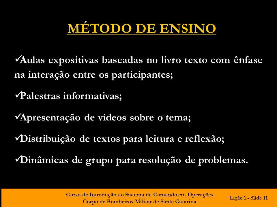 Curso de Introdução ao Sistema de Comando em Operações Corpo de Bombeiros Militar de Santa Catarina MÉTODO DE ENSINO Aulas expositivas baseadas no liv