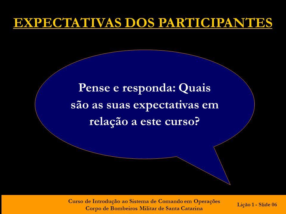 Curso de Introdução ao Sistema de Comando em Operações Corpo de Bombeiros Militar de Santa Catarina Pense e responda: Quais são as suas expectativas e