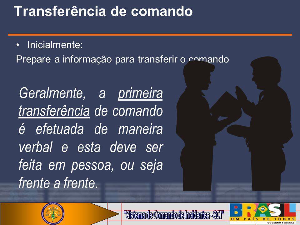 Transferência de comando Inicialmente: Prepare a informação para transferir o comando Geralmente, a primeira transferência de comando é efetuada de ma