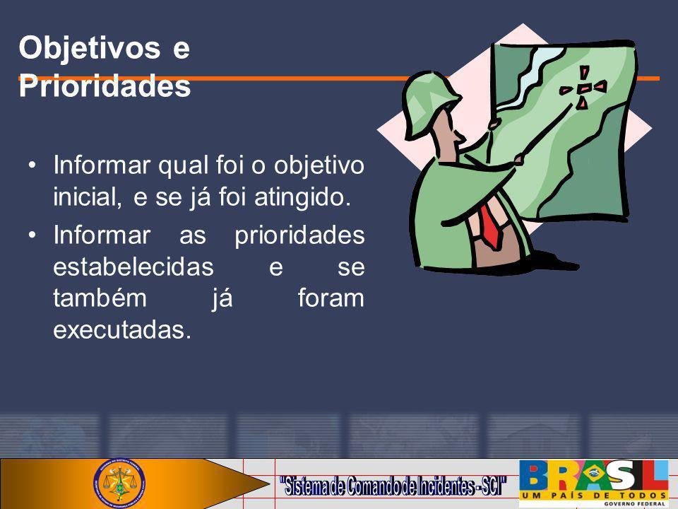 Objetivos e Prioridades Informar qual foi o objetivo inicial, e se já foi atingido. Informar as prioridades estabelecidas e se também já foram executa