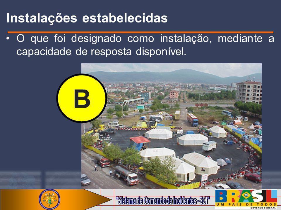 Instalações estabelecidas O que foi designado como instalação, mediante a capacidade de resposta disponível. B